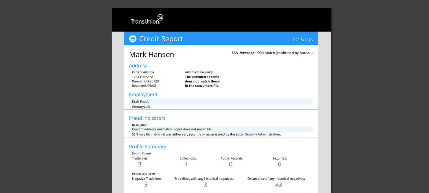 SmartMove Credit Report Example